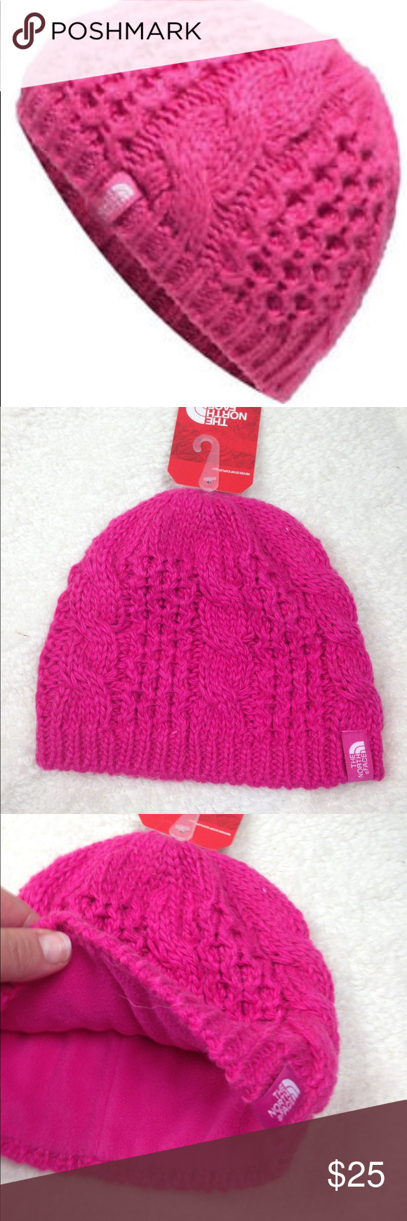 77461148734 New The North Face Cable Knit Hat Youth Medium Cable Minna Cabaret Pink  Beanie Youth medium The North Face Accessories Hats
