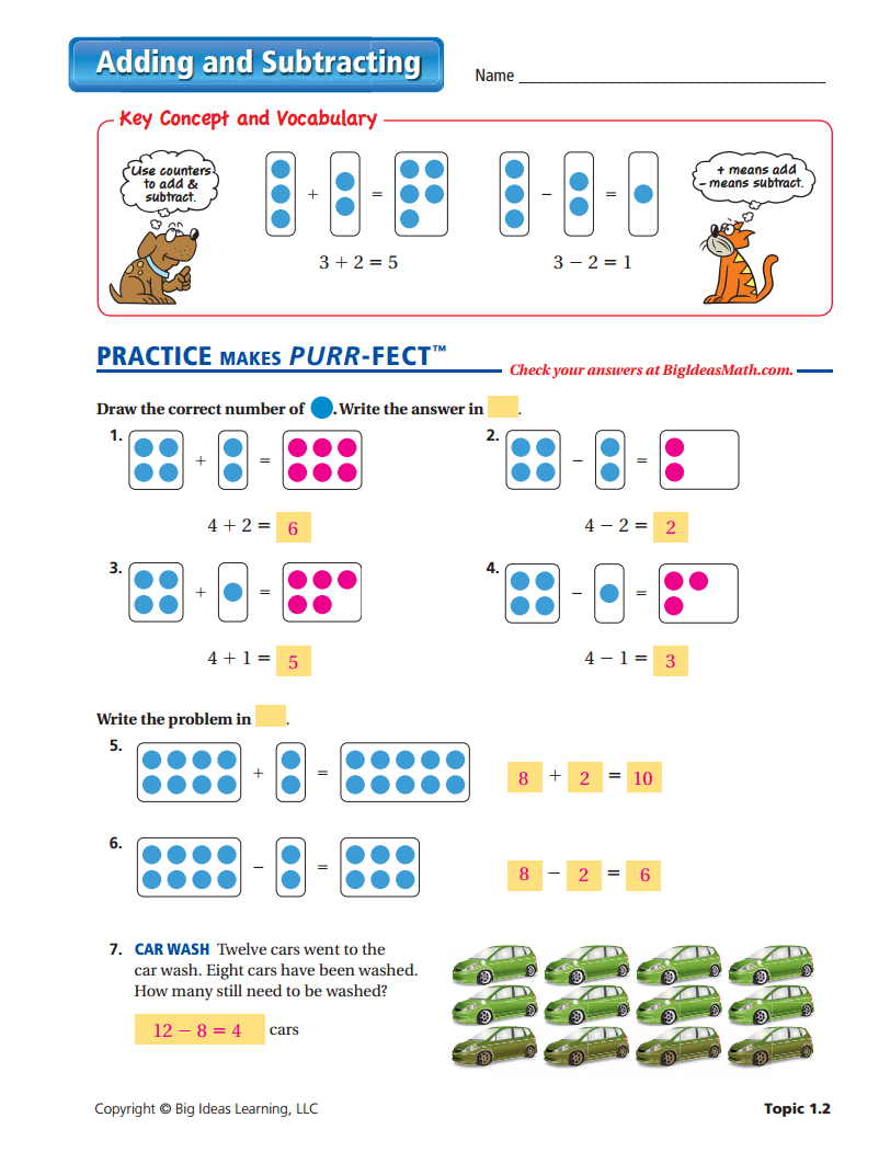 Adding And Subtracting Worksheet Answers Big Ideas Math Adding And Subtracting Subtraction