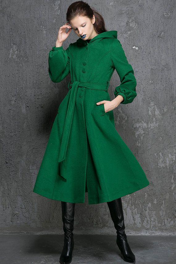 Winter Coats-Coats-Green Wool Coat-Woman Coat-Green by xiaolizi ...