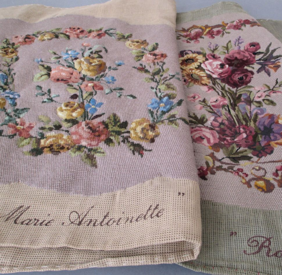 2 Vintage French Needlepoint Petit Point Chair Covers