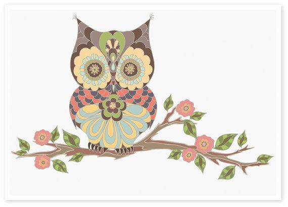 Owl Sitting On Branch | Nursery Art Owls | Mamas Spirit ...