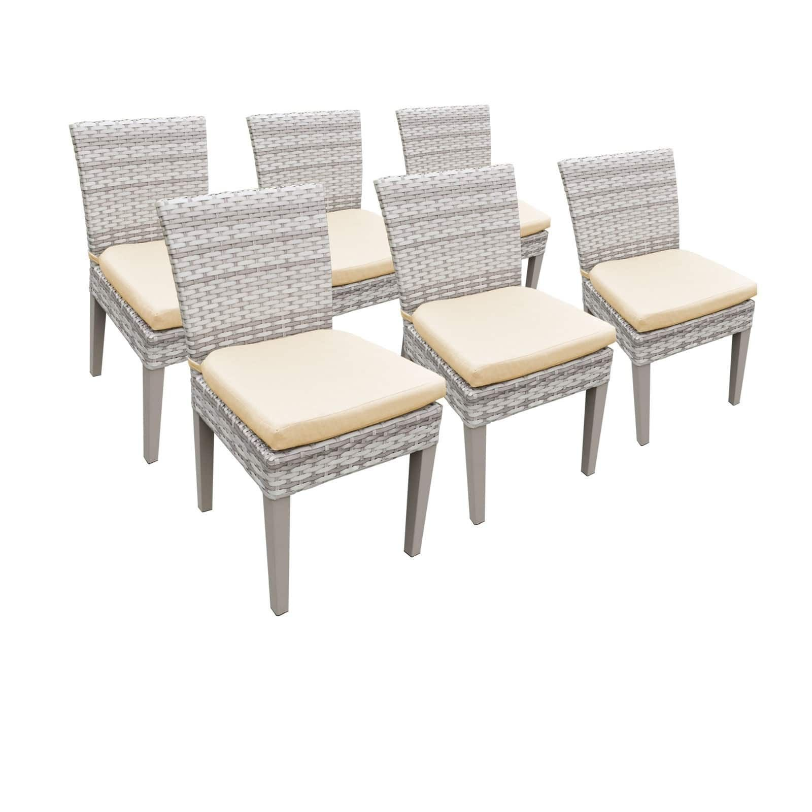 Catamaran Outdoor Patio Wicker Side Chairs With Seat Cushions Set