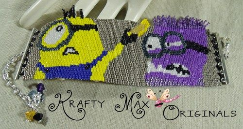 Purple and Yellow Minions Beadwoven Bracelet - A Krafty Max Original | KraftyMax…
