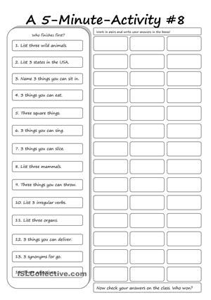 A 5 Minute Activity 8 Teaching Worksheets Activities
