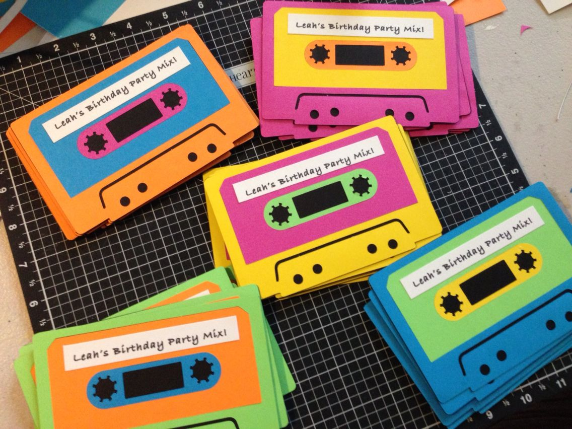 80s cassette tape invites shellys bridal shower Pinterest
