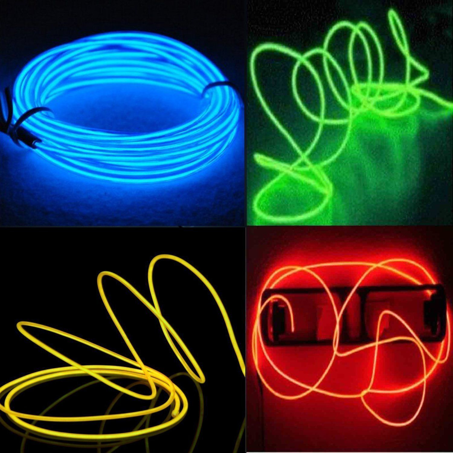 EL Wire Kit, 4-Pack 5M Neon Light Electroluminescent Wire /Mutli ...