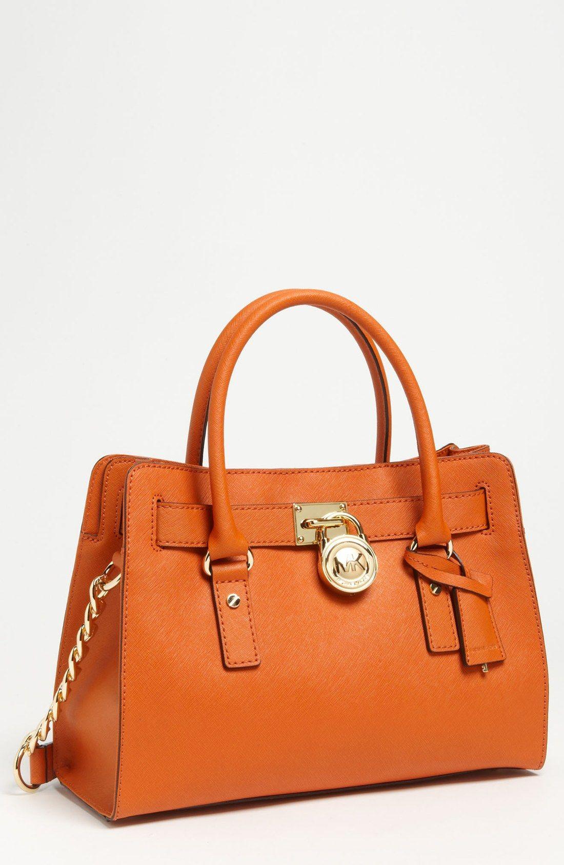 445fa3d9721f Michael michael kors Hamilton Saffiano Leather Satchel in Orange (Luggage)  | Lyst
