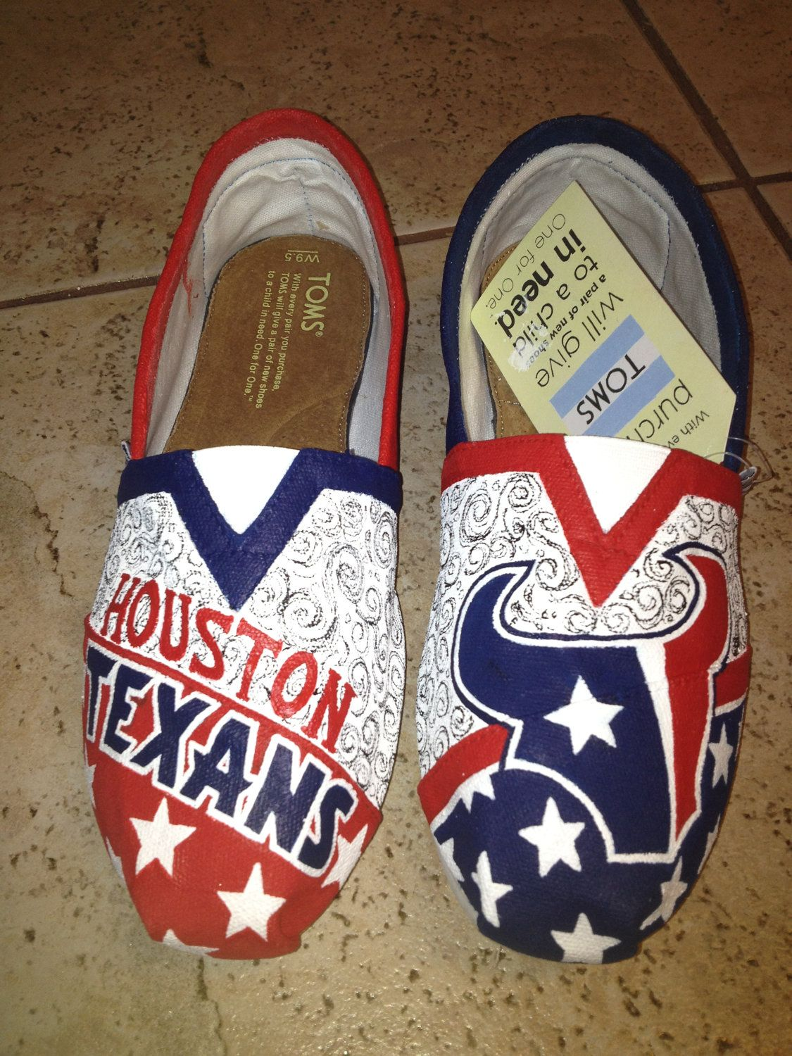 8cfae2d3 Houston+Texans+hand+painted+TOMS+by+solespirit+on+Etsy,+$130.00   My ...