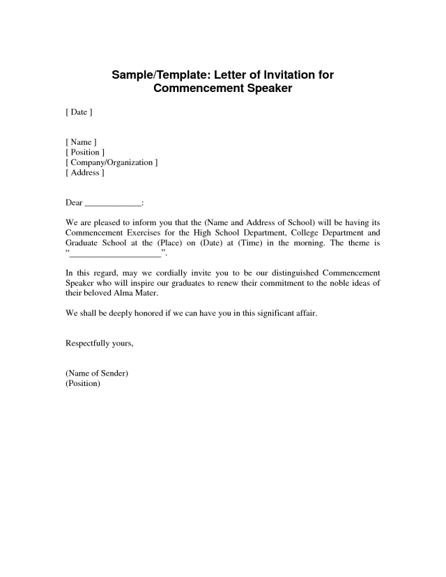 Invitation Letter For Guest Speaker In Graduation With The
