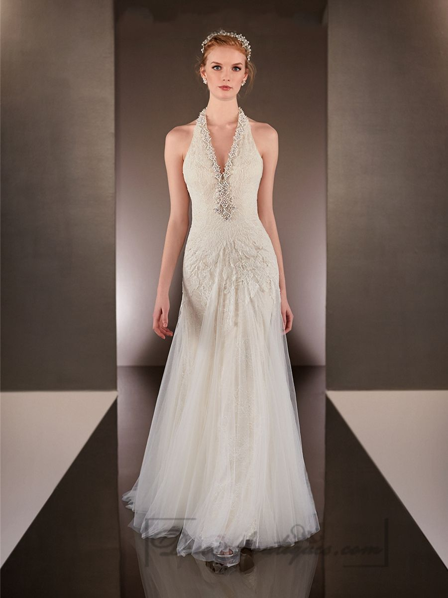 Beaded back wedding dress  Beaded Helter Vneck Sheath Wedding Dresses with Low Open Back