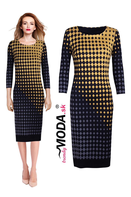 5b2a033ae6fe Elegantné úpletové dámske šaty s efektným vzorom vo veľkostiach i pre  moletky.