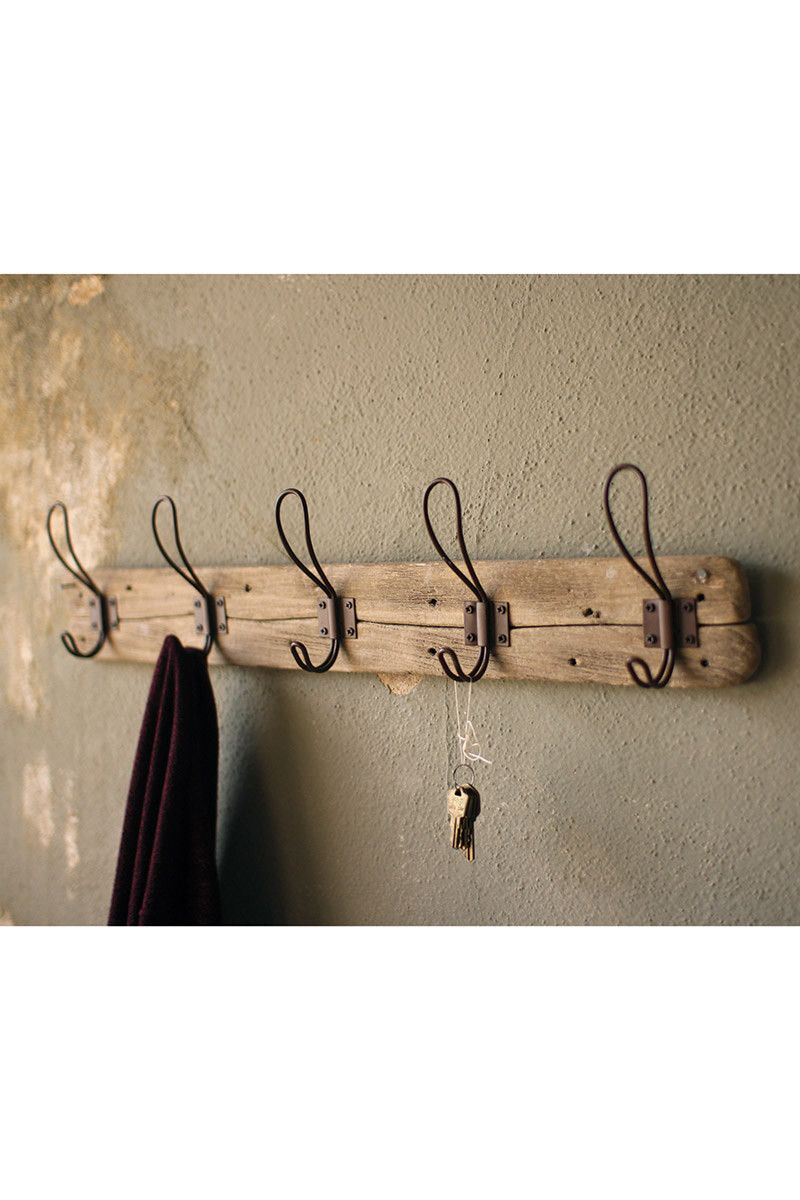 Recycled Wooden Coat Rack With Rustic Hooks Wooden Coat Rack Rustic Coat Rack Rustic Hook
