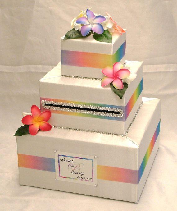Hawaiian Wedding Reception Ideas: Hawaiian Themed Custom Made Wedding Card Box-Plumerias