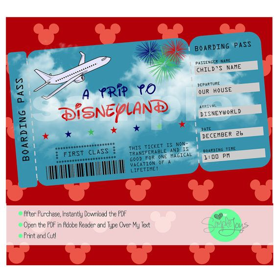 Printable Ticket to Disneyworld\/Disneyland by SimpleJoysStudio - create a ticket template