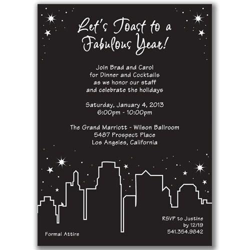 Holiday In The City Invitations For New Year S Eve Party Or Any Celebration In The City Staff Party Holiday Party Invitations Party Invitations