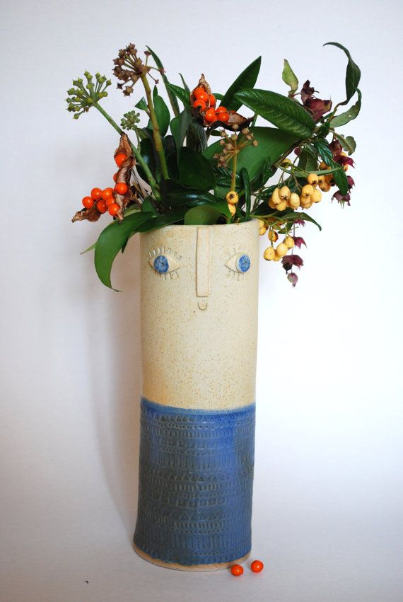 Hand Built Tall Vase With Happy Face And Patterns In Two Tone Glaze