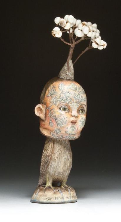 """""""Inhabitants Of The Garden -Gathering Wisdom"""" Sculpture by Deborah Rogers, 2013"""