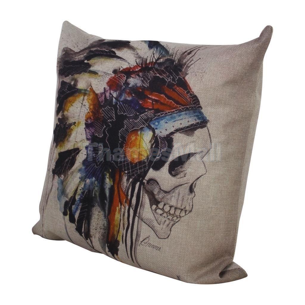Skull head cotton linen throw pillow case cushion cover chair sofa