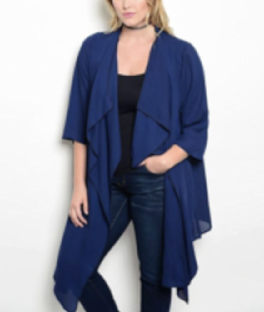 Details about PLUS WOMEN Navy Chiffon Light CARDIGAN LONG SLEEVE ...