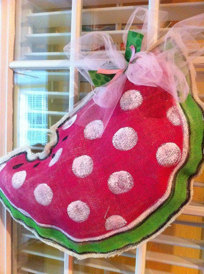 Burlap watermelon door hanger