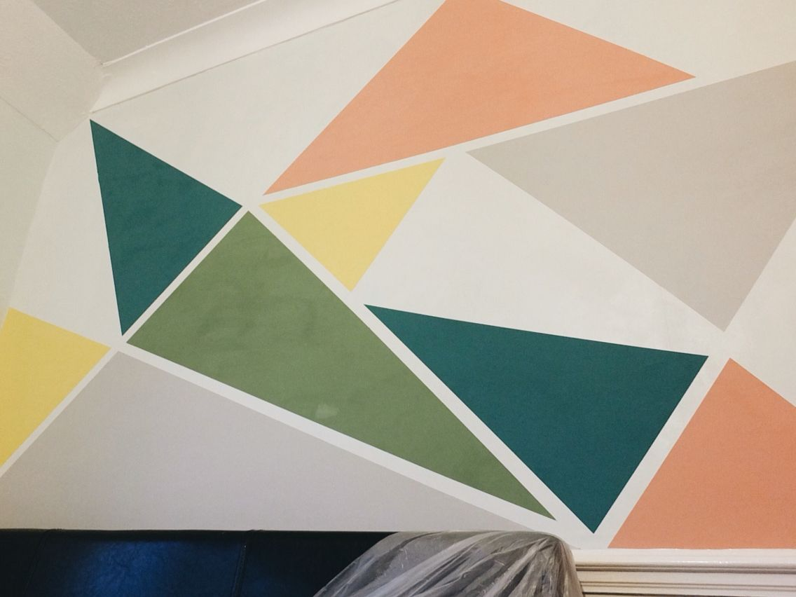 Geometric Wall Paint Done Using Frog Tape And Small Tester Pots