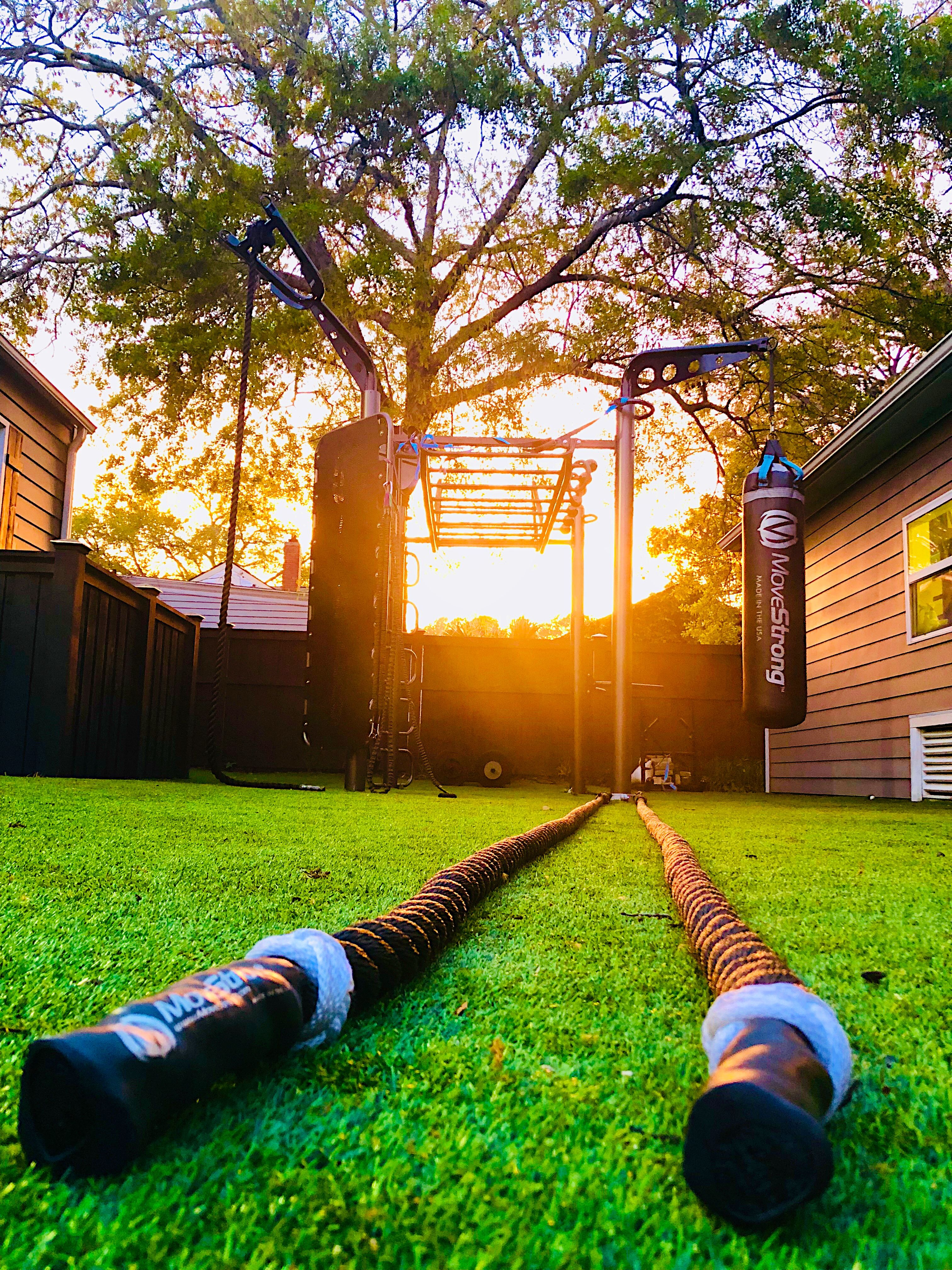 Backyard gym with the MoveStrong T Tex FTS featuring new Battle Rope