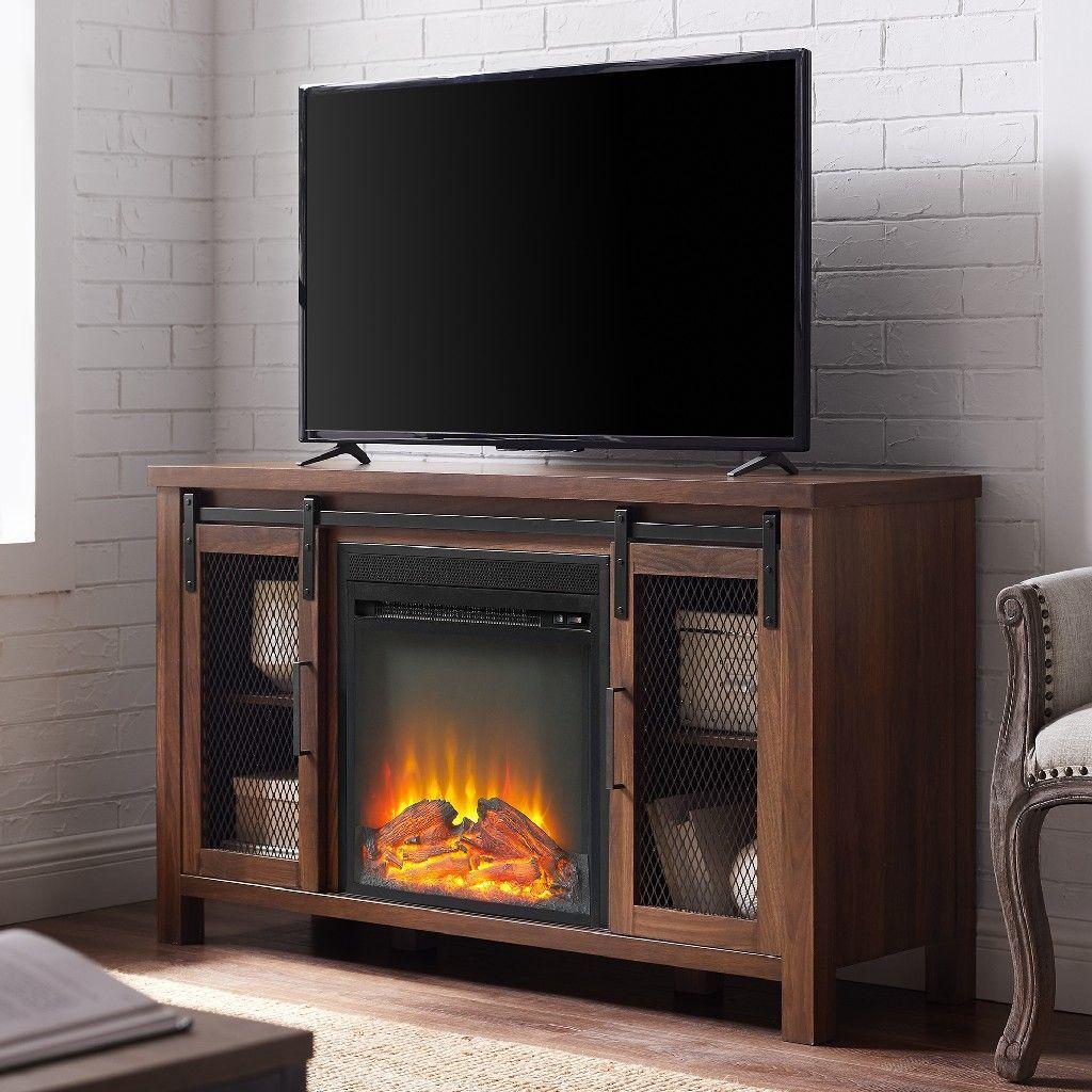 "48"" Rustic Farmhouse Fireplace TV Stand in Dark Walnut"