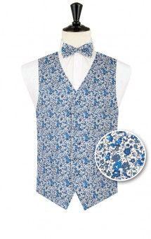 charme de coût belles chaussures 100% de qualité supérieure Gilet Liberty by Dobell bleu floral   idée costume mariage ...