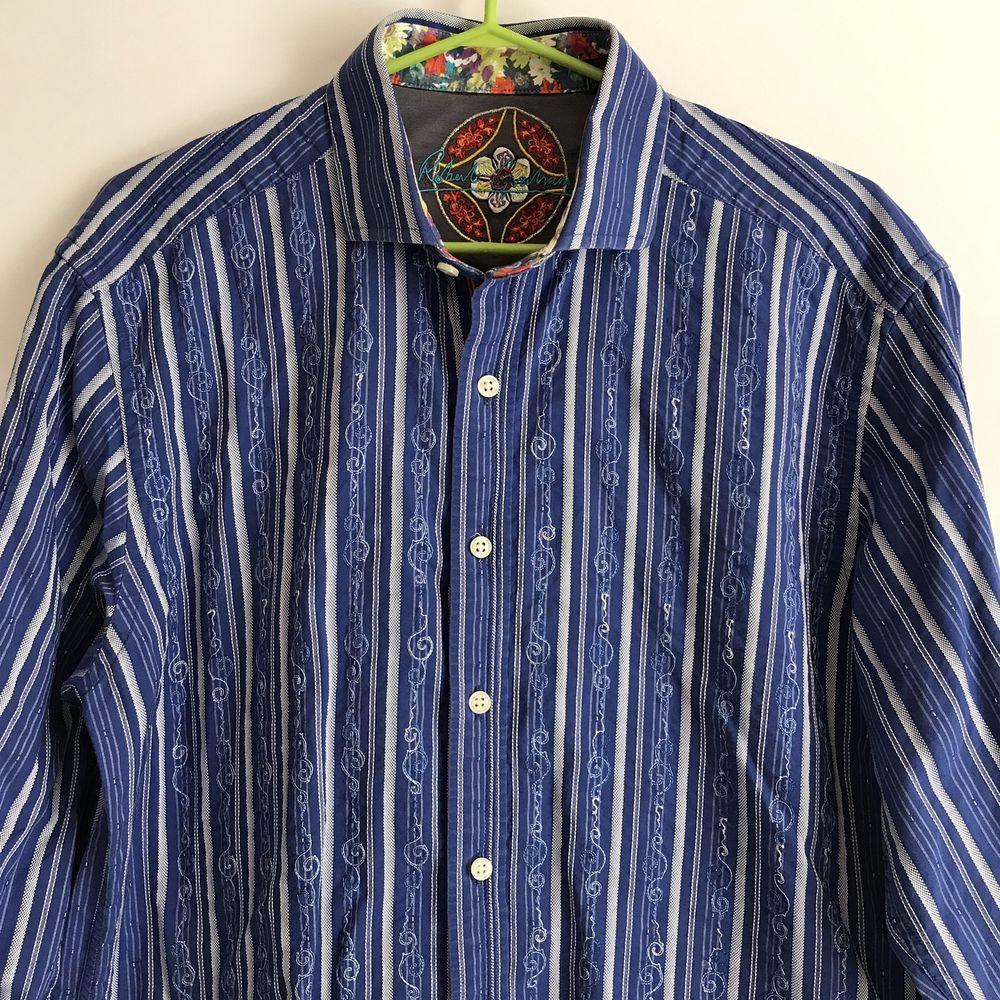 Robert Graham Blue Filigree Striped Shirt Size Large Designer Cuff Clothing Shoes Accessories Men S Clothing Dress Shirt Dress Casual Shirts Shirt Dress