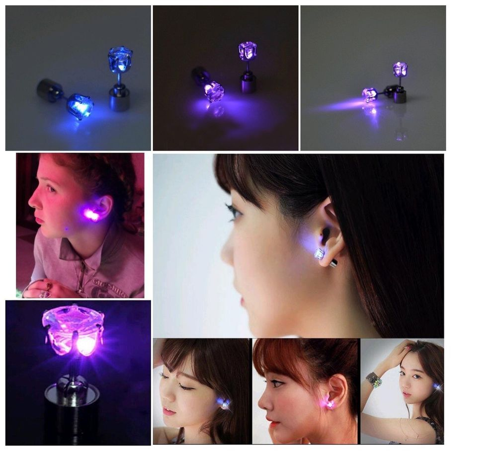 Uni Cool Light Up Led Blinking Earrings Studs Dance Party For Xmas Club Kisswife Howninthepicture