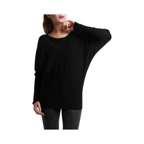 Casual Women Batwing Black O-neck Knitwear Sweater ($6.43) ❤ liked on Polyvore featuring tops, sweaters, black, sweaters & cardigans, black knit top, knit sweater, long sleeve tops, black sweater and batwing sweater