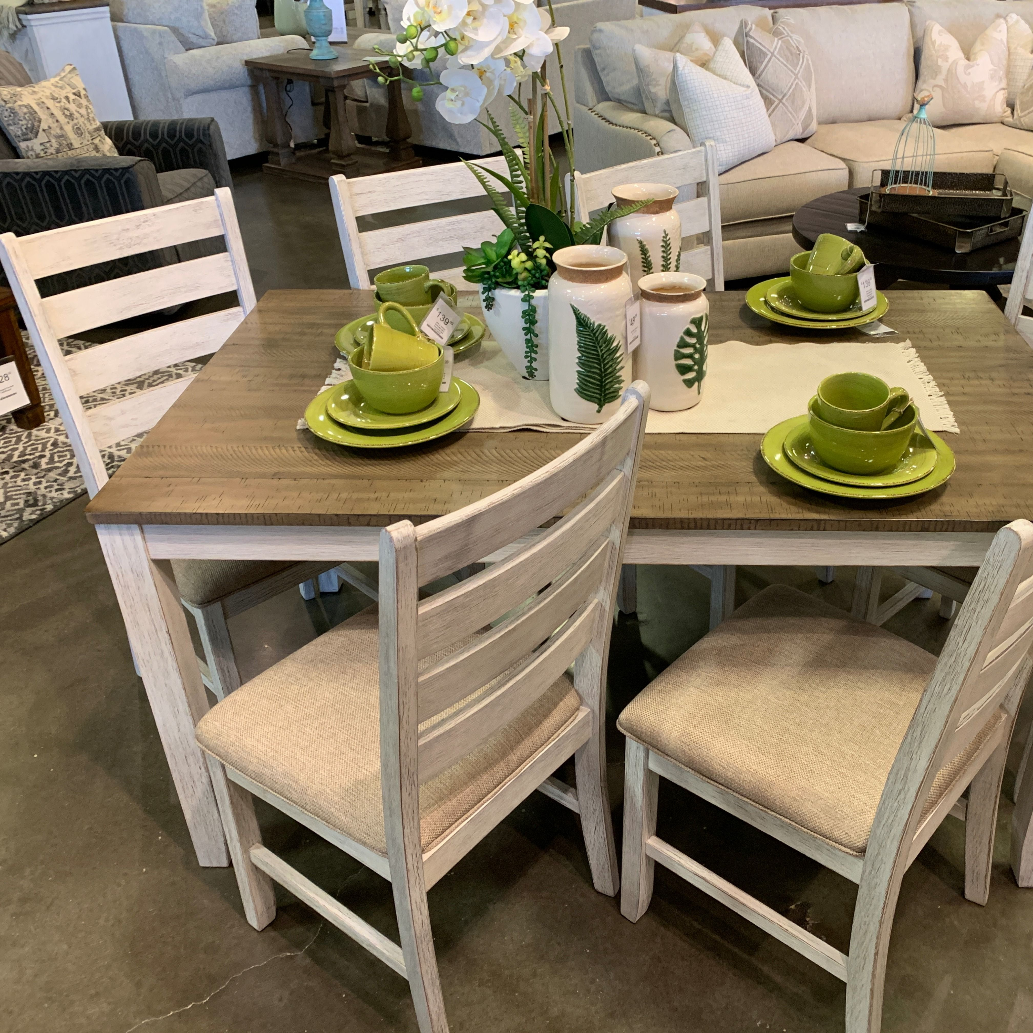 Set The Scene For Coastal Chic Or Modern Farmhouse Living With The Skempton Dining Room Table Set Dining Room Table Set Dining Room Table Dining Room Interiors