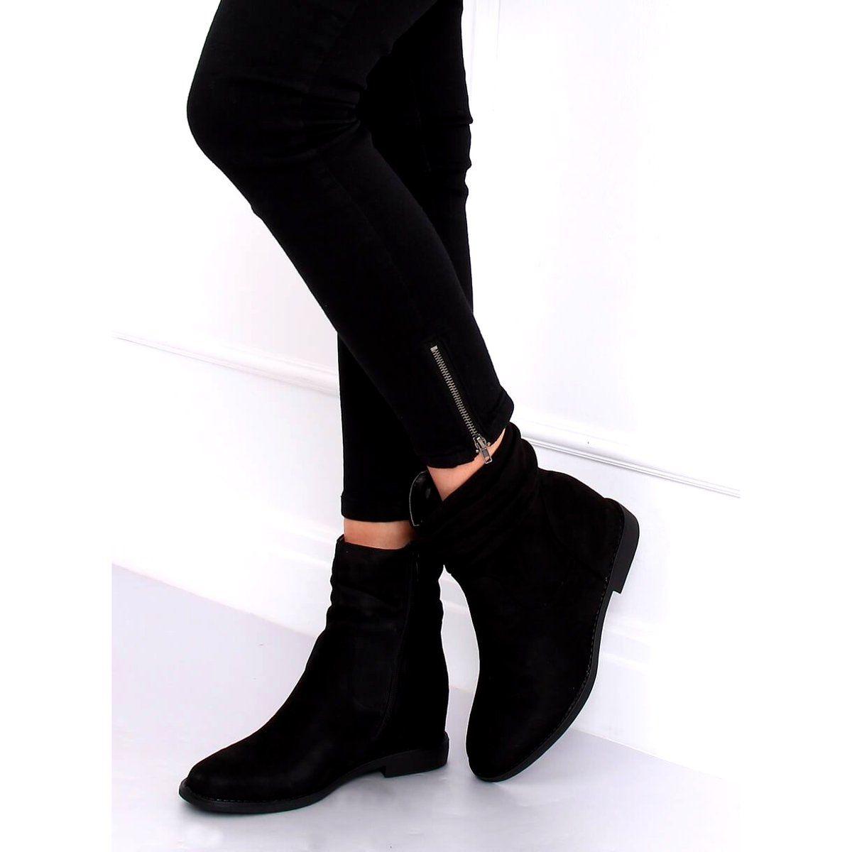 Botki Na Ukrytym Koturnie Czarne 2c8ax7680 1 Black Fashion Wedge Boot Shoes