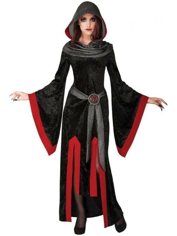 GIRLS HOODED VAMPIRE ROBE FANCY DRESS COSTUME HELLS ASYLUM BLACK /& RED OUTFIT
