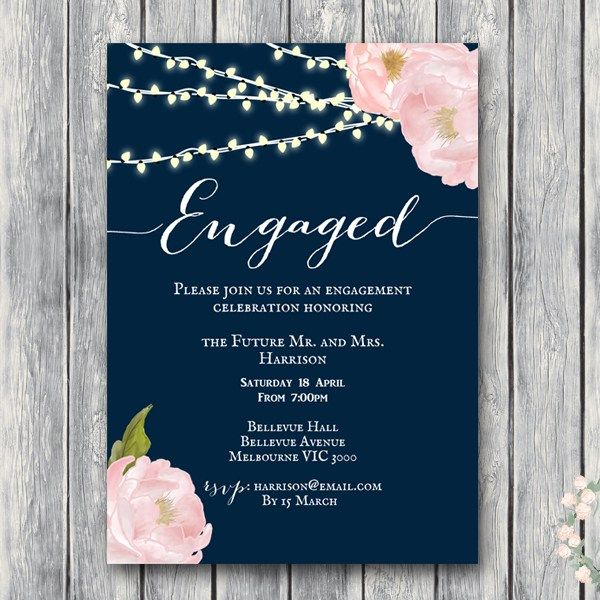 Wd65 5x7 Engagement Invitation Rustic Peonies Navy Fl More