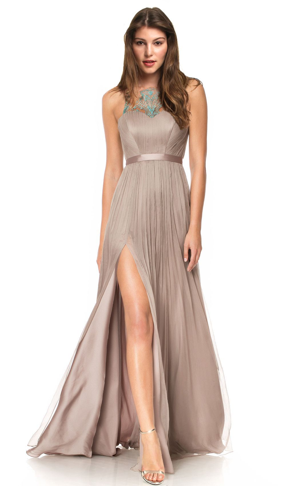 Cristallini Taupe Gown | Chic by Choice | Hire Designer Dresses ...