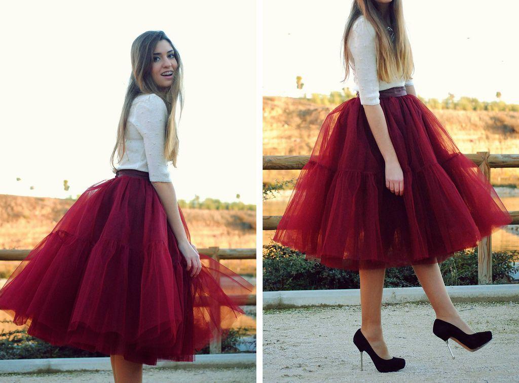 fe7611386 falda roja de tul
