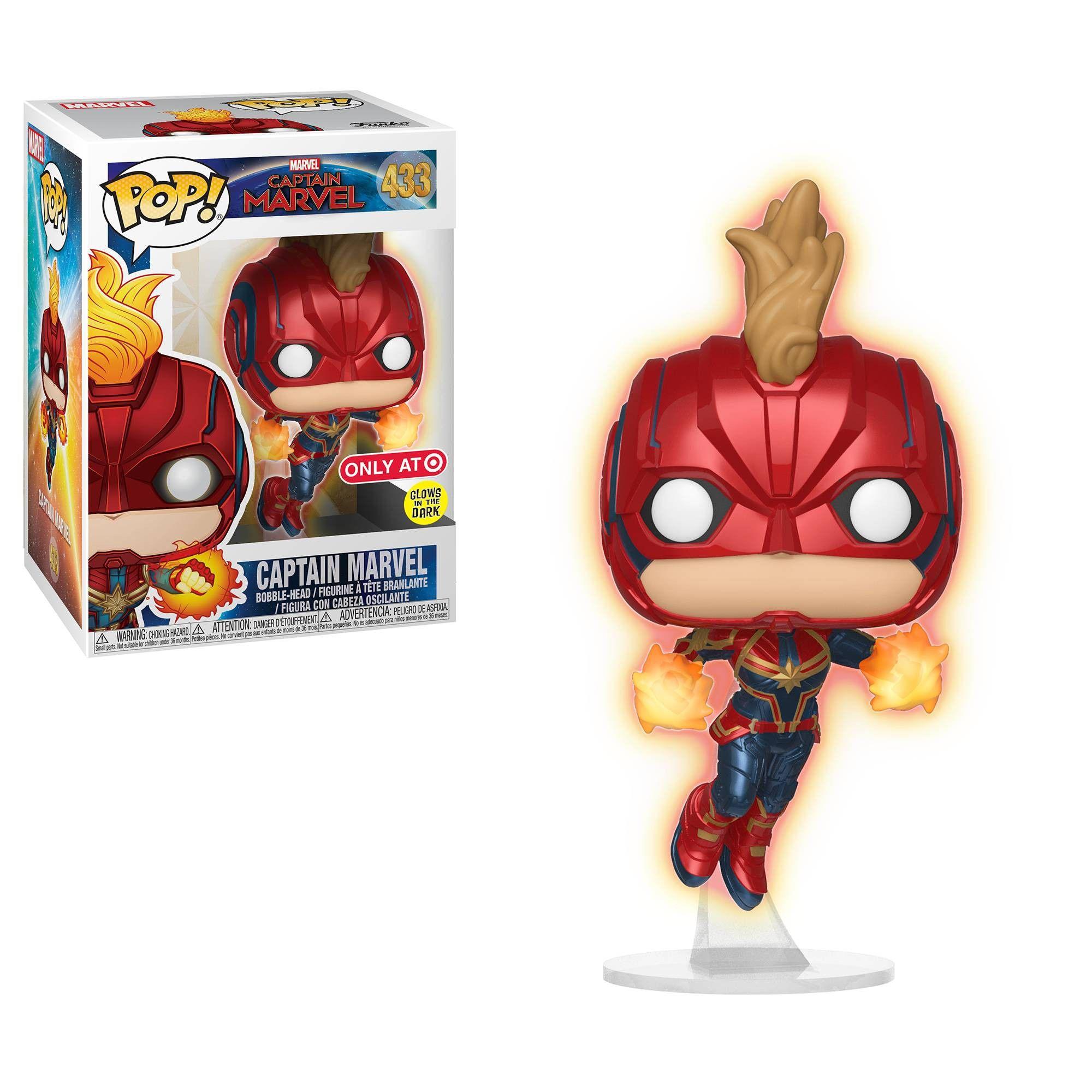 funko pop! marvel: captain marvel - glow in the dark flying