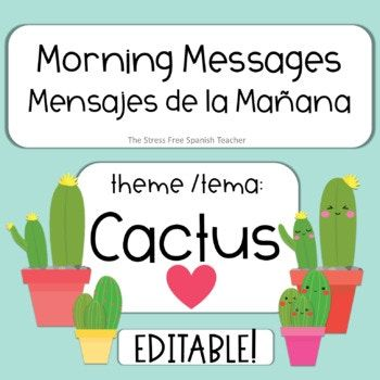 editable morning message mensajes de la manana cactus theme powerpoint bell ringers morning messages and homework