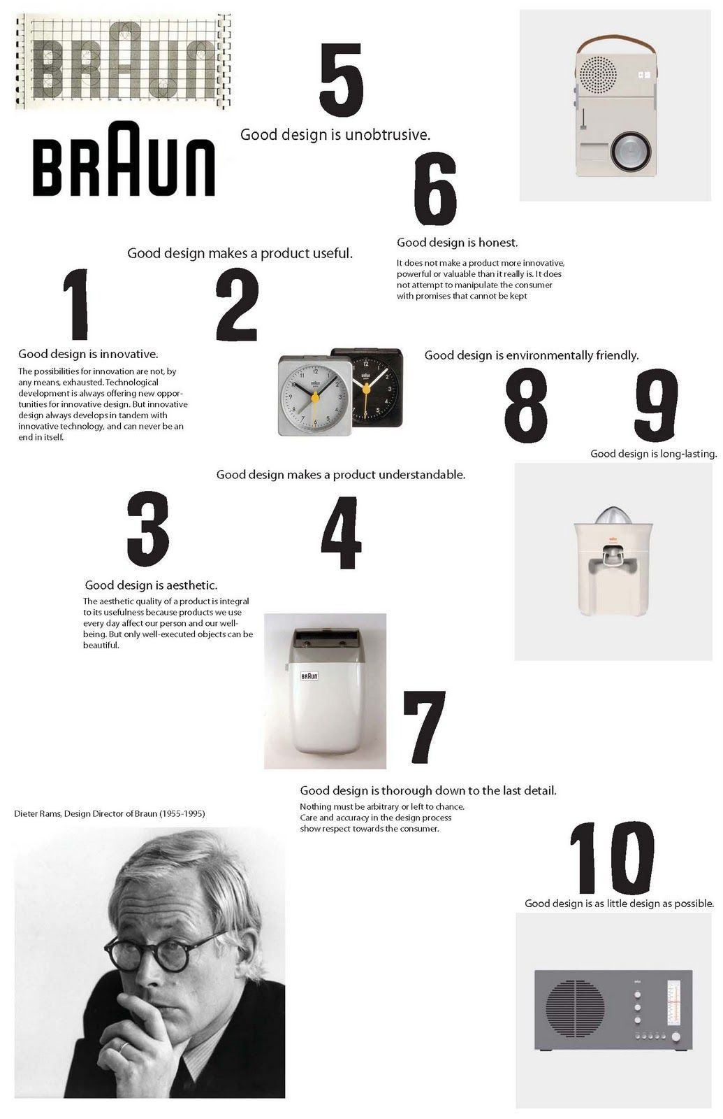 A good poster design - Dieter Rams Ten Rules Of Good Design Poster Braun Pic On Design You Trust Graphic Design Pinterest Dieter Rams Design Posters And Product Design