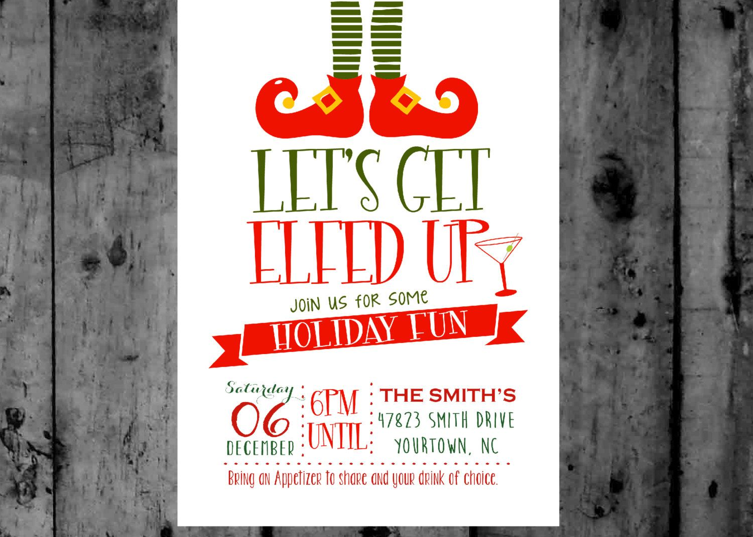 Neighborhood Christmas Party Ideas Part - 25: Wording For Neighborhood Christmas Party Invitations Let U S Get Elfed Up Christmas  Party Printable Invitation By