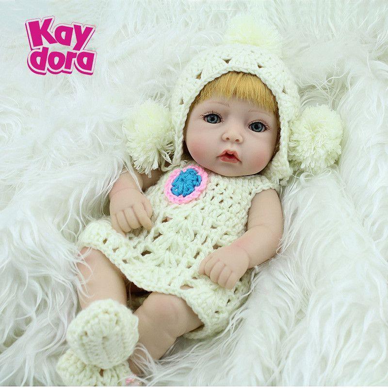 Silicone Baby Dolls 10'' Cuddly Dolls Soft Full Vinyl