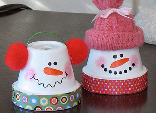 macetas con forma de muñeco de nieve - especial navidad - juegos y