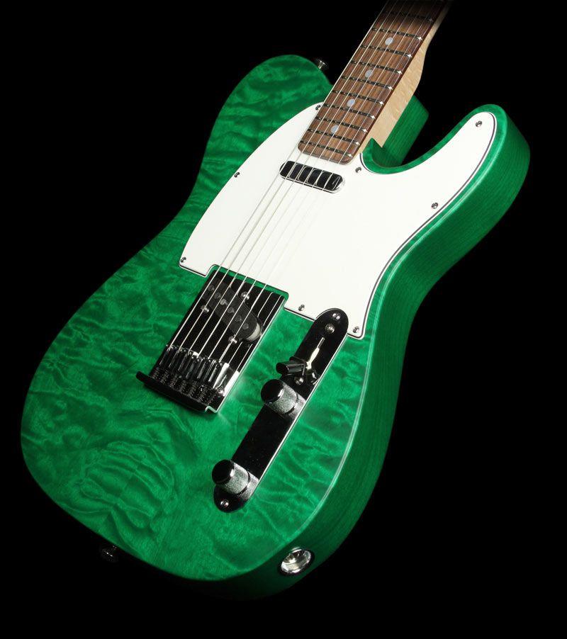used fender custom shop custom deluxe telecaster electric guitar emerald green transparent. Black Bedroom Furniture Sets. Home Design Ideas