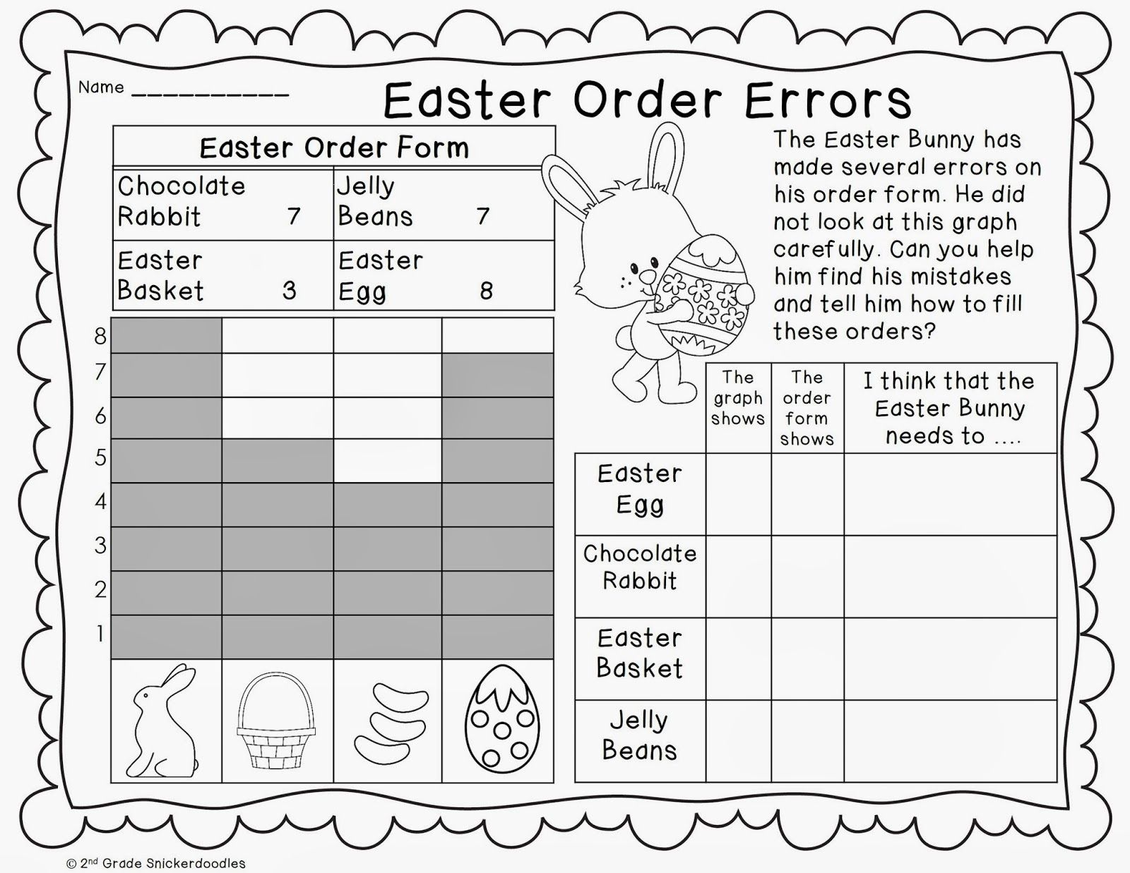 2nd Grade Snickerdoodles: Graphing Freebies   Spring math worksheets [ 1237 x 1600 Pixel ]