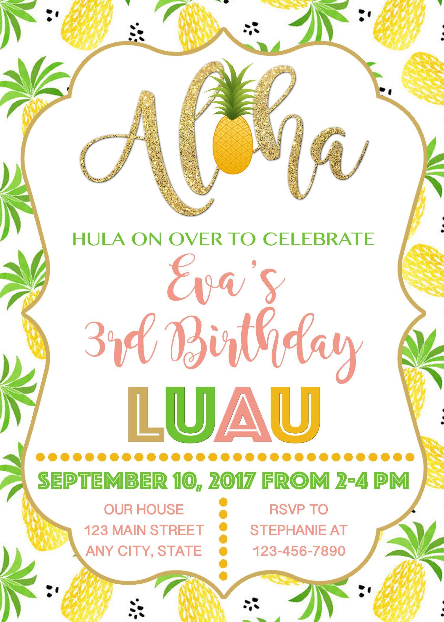 Aloha invitation pineapple invitation luau invitation hawaiian aloha invitation pineapple invitation luau invitation hawaiian birthday invitation luau birthday invitation stopboris Gallery