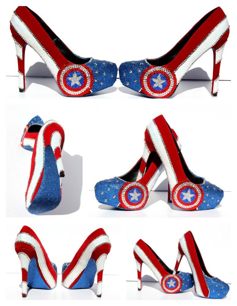 ee44ba18d Captain America Heels with Swarovski Crystals by WickedAddiction on Etsy  https://www.