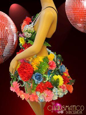Diva's Summery Green Mirrored Frame Fancy Stunning Tropical Flower Dress | eBay