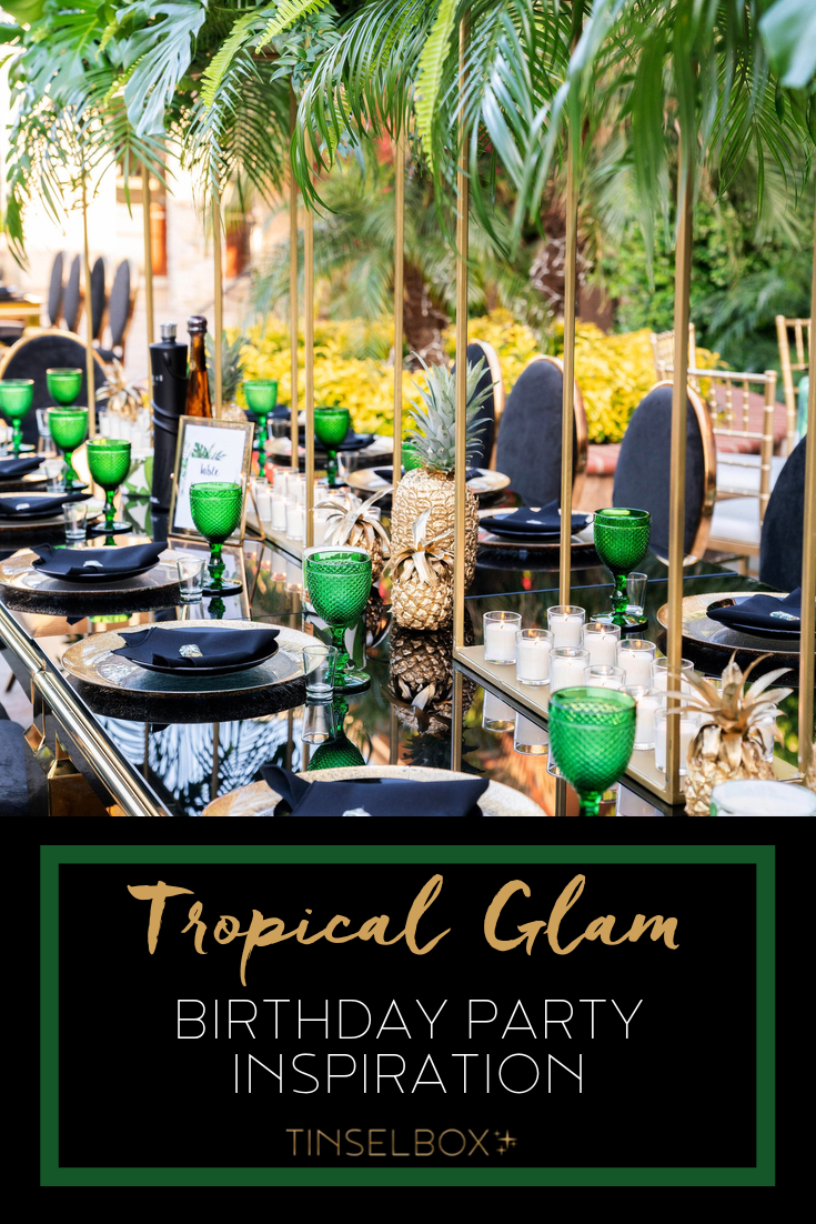 Tropical Glam 40th Birthday Party Inspiration 40th Birthday Parties Dinner Party Decorations Dinner Party Themes [ 1102 x 735 Pixel ]