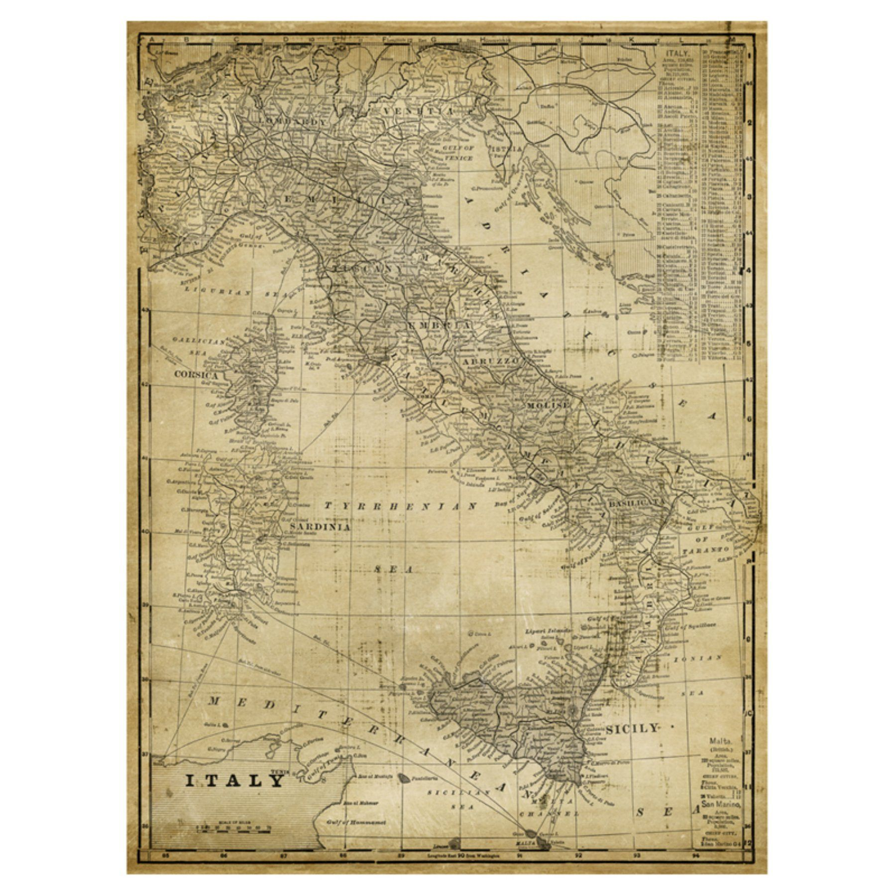 Art Effects Antique Map Of Italy Canvas Wall Art - R17932 | Antique ...